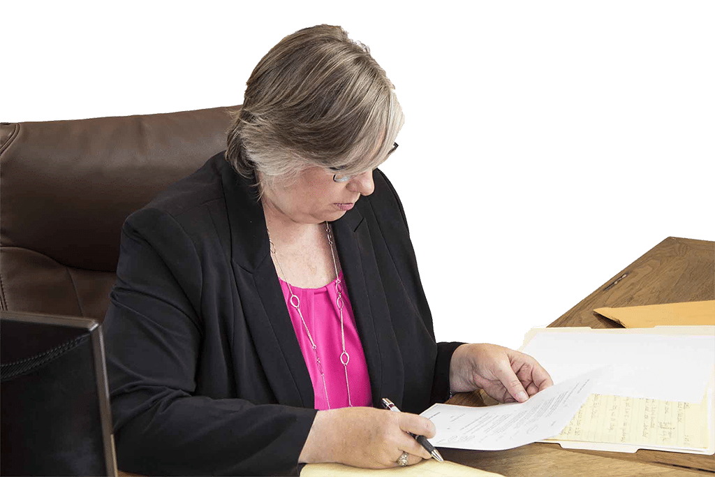 Attorney Ronda Haynes Looking Through A Clients Documents